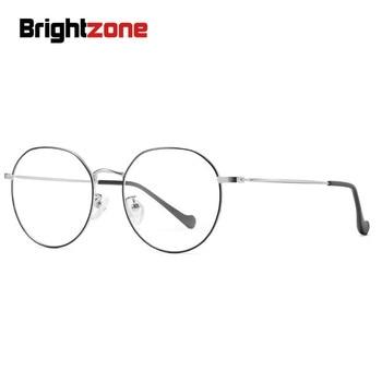 Brightzone Logam Kacamata Resep Rentang Merek Fashion Wanita Miopia Kacamata Gaya Pria Optik Anti Cahaya Biru Tren Desainer