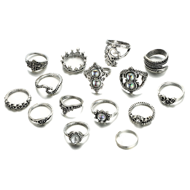15Pcs/Set Women Bohemian Vintage Crown Cat's Eye Wave Flower Heart Leaf Crystal Opal Joint Ring Party Silver Ring Set