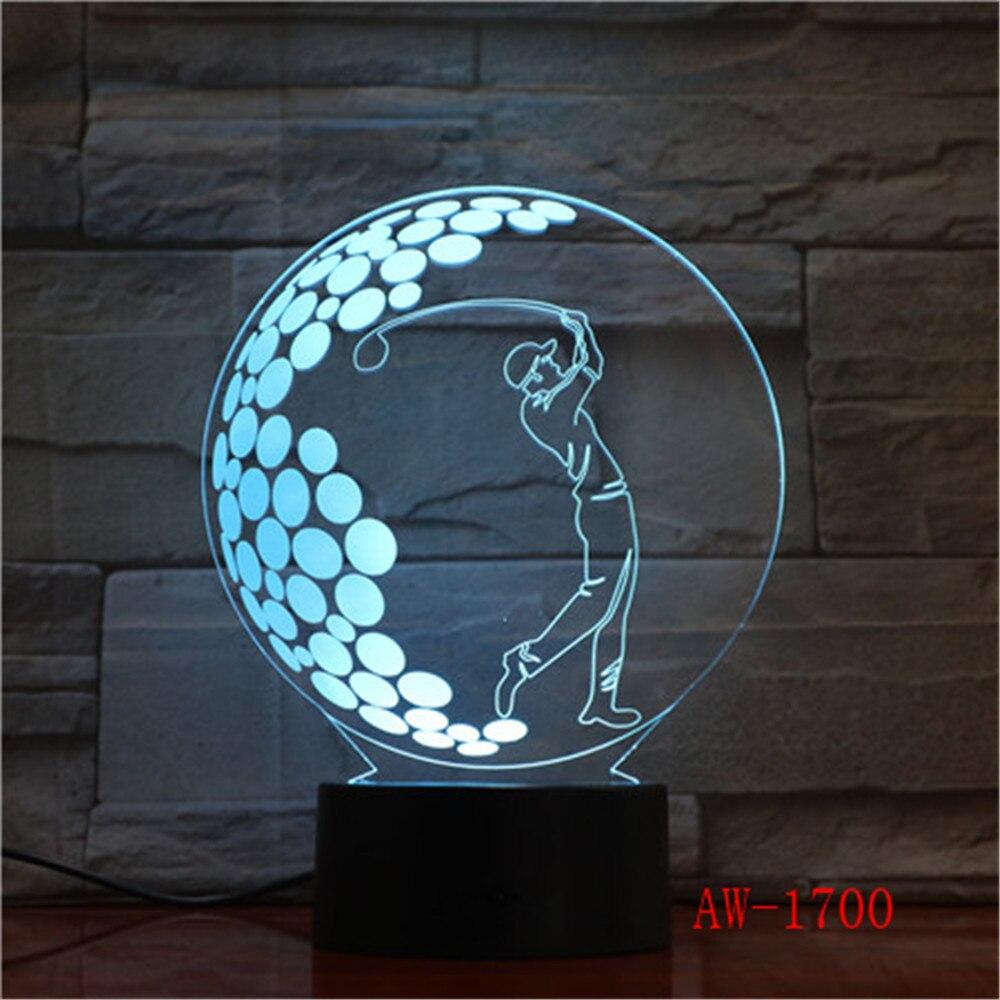 Playying Golf 3d wizualne Lampa iluzoryczna przezroczyste akrylowe światło nocne Led Fairy Lampa zmiana koloru stół dotykowy światła AW-1700