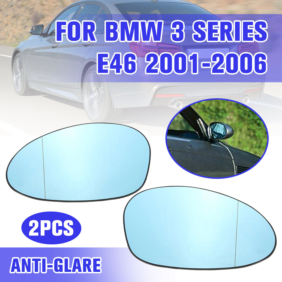 For <font><b>BMW</b></font> <font><b>M3</b></font> <font><b>E46</b></font> 2001 2002 2003 2004 2005 2006 Right Driver <font><b>Side</b></font> Blue Tinted Heated Wing Door <font><b>Mirror</b></font> Glass image
