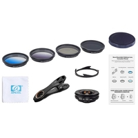 Apexel Phone Camera Lens Kit Hd Professional Wide Angle/Macro Lens With Grad Filter Cpl Nd Filter For Android Ios Smartphone
