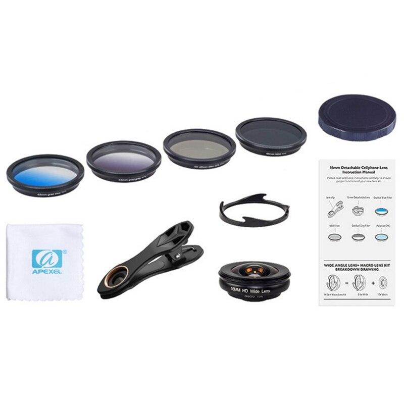 Kit d'objectif caméra téléphone Apexel Hd objectif professionnel grand Angle/Macro avec filtre Grad Cpl et filtre pour Smartphone Android Ios