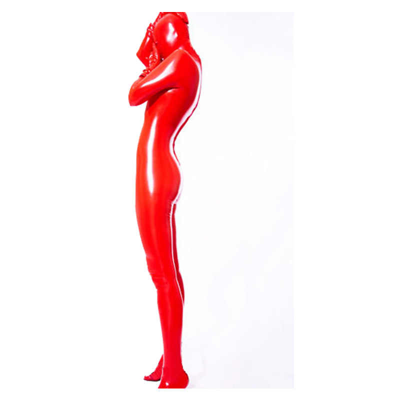 New 100% Latex Rubber Unisex Catsuit Costume Red Bodysuit With Mask 0.4mm S-XXL