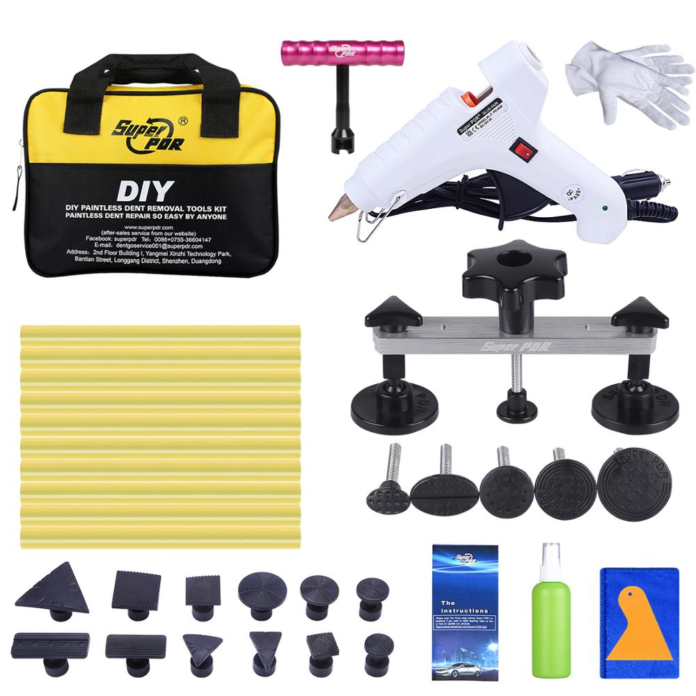 Super PDR Tools Kit For Car Dent Pullers Suction Cup Glue Tabs Pulling Bridge 12V White Melt Glue Gun Ferramentas Hand Tools Set pdr tools for car kit dent lifter glue tabs suction cup hot melt glue sticks paintless dent repair tools hand tools set