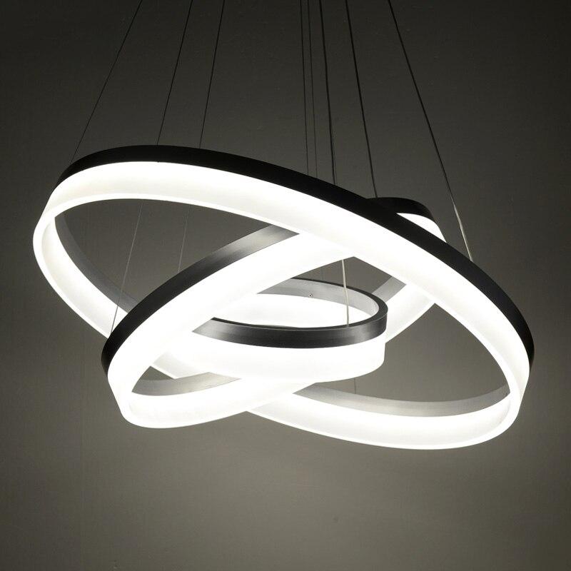 Lustre moderne LED cercle anneau Lustre lumière pour salon acrylique Lustre Lustre éclairage blanc argent 85-265v