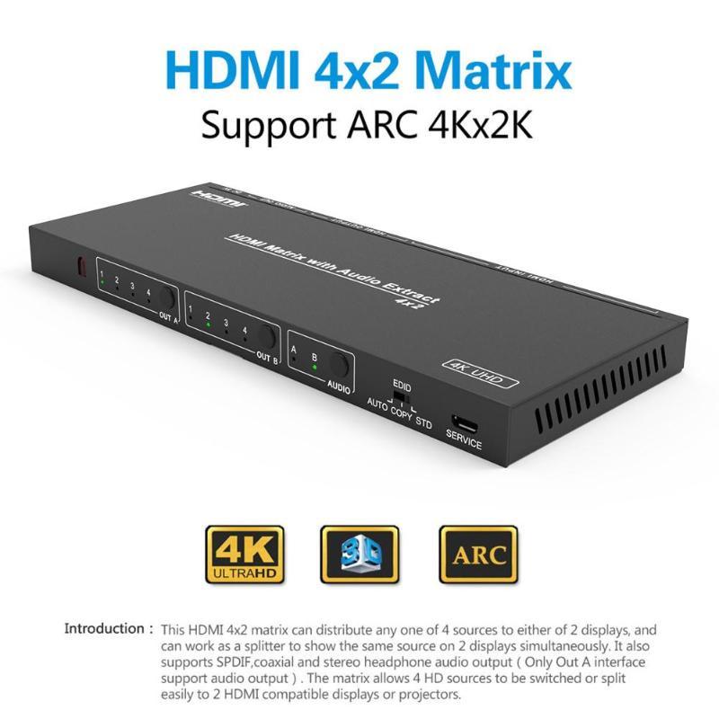 HDMI Matrix 4X2 HDMI séparateur commutateur 1.4 HDMI 4 en 2 commutateur séparateur adaptateur Support 4 K * 2 K avec télécommande