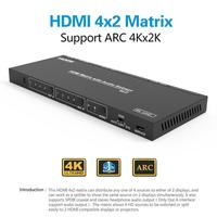 HDMI Matrix 4X2 HDMI Splitter Switch 1.4 HDMI 4 in 2 out Switcher Splitter Adapter Support 4K*2K with Remote Controller