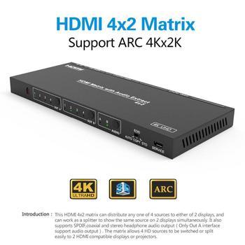 HDMI Matriz 4X2 4 em 2 out Switcher HDMI Switch Splitter 1 4 HDMI Splitter  Suporte Adaptador 4 K * 2 K com Controle Remoto