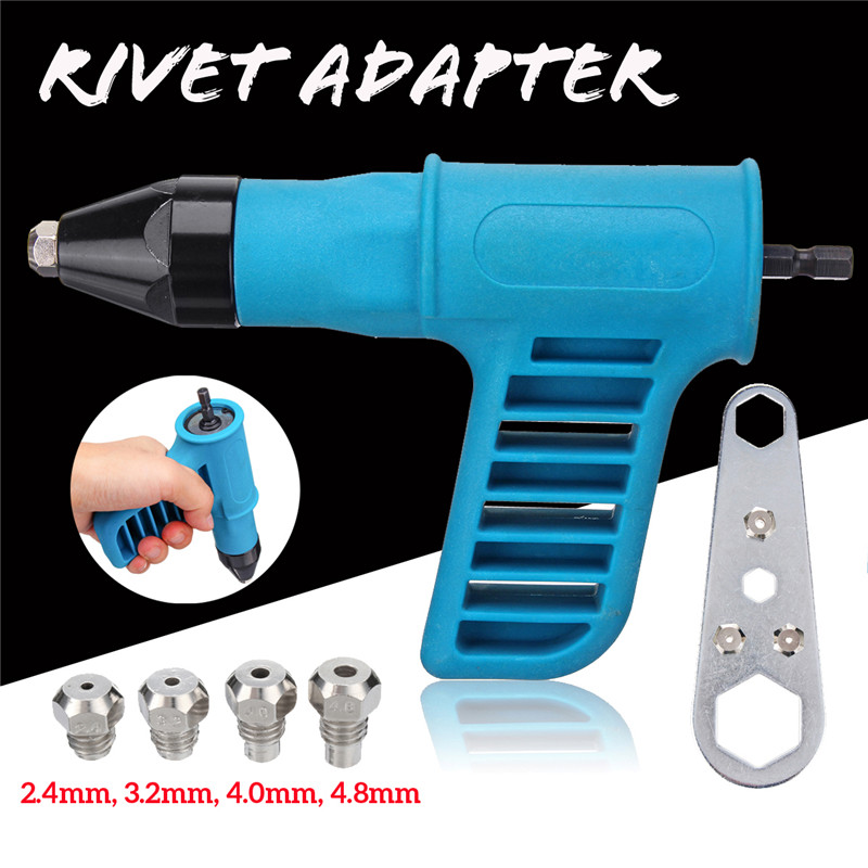 Cordless Riveter Guns Electric Drill Tools Kit Riveter Adapter Insert Nut With Convertible Nozzles 2.4mm/3.2mm/4.0mm/4.8mm