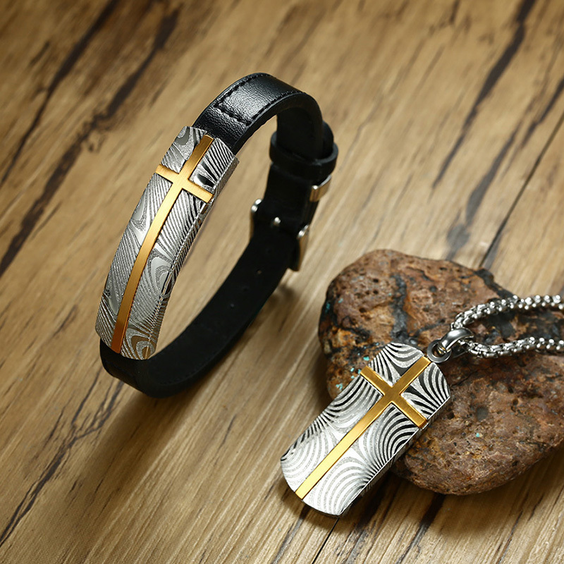 Vnox New Mens Damascus Steel Cross Genuine Leather Bracelet and Necklace Jewelry Sets Stylish Textured Male Gifts AccessoriesVnox New Mens Damascus Steel Cross Genuine Leather Bracelet and Necklace Jewelry Sets Stylish Textured Male Gifts Accessories