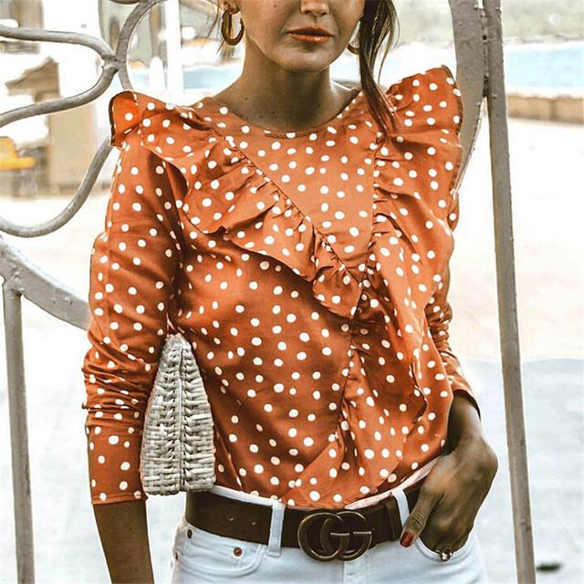 Fashion Women's New Casual Top Blouse 2018 Autumn Elegant Woman Long Sleeve Loose Casual Shirt Ladies Dot Pattern Ruffles Shirt