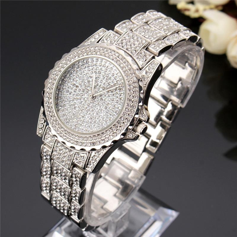 Women Quartz Watch Fashion Bling Watches Ladies Crystal Diamond Clock Stainless Steel Wristwatch Fashion Silver Rose Gold Watch