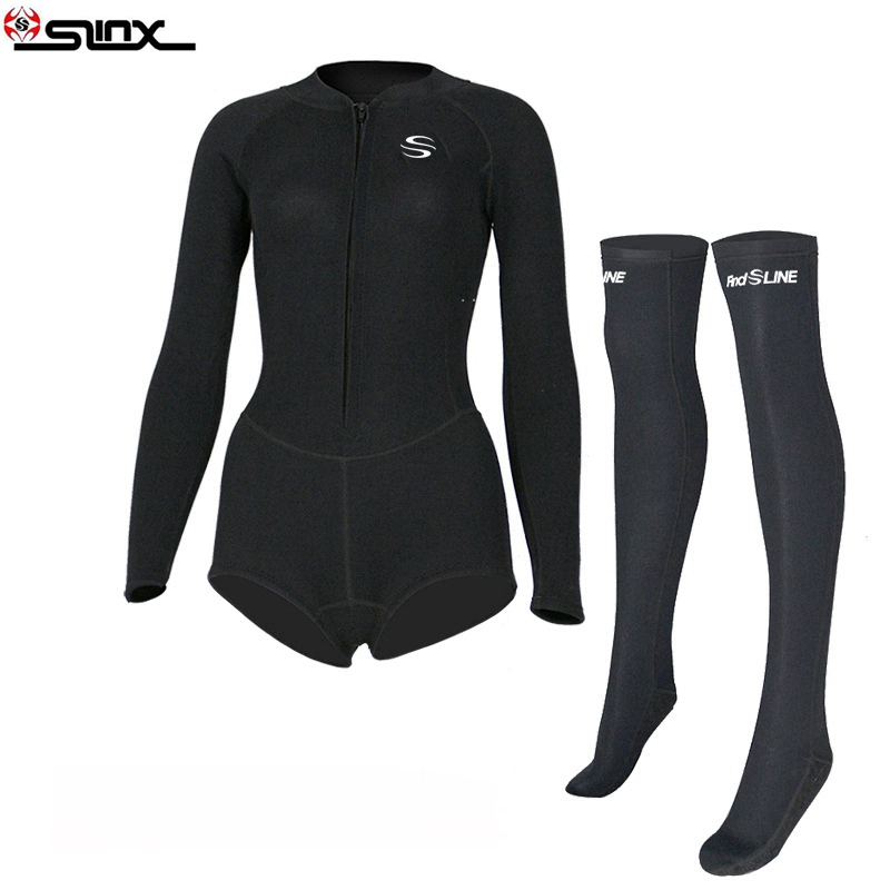 Slinx Womens 2Mm Bikini Wetsuit With Front Zipper Elastic Diving Suits Stockings Cut Springsuit -5275