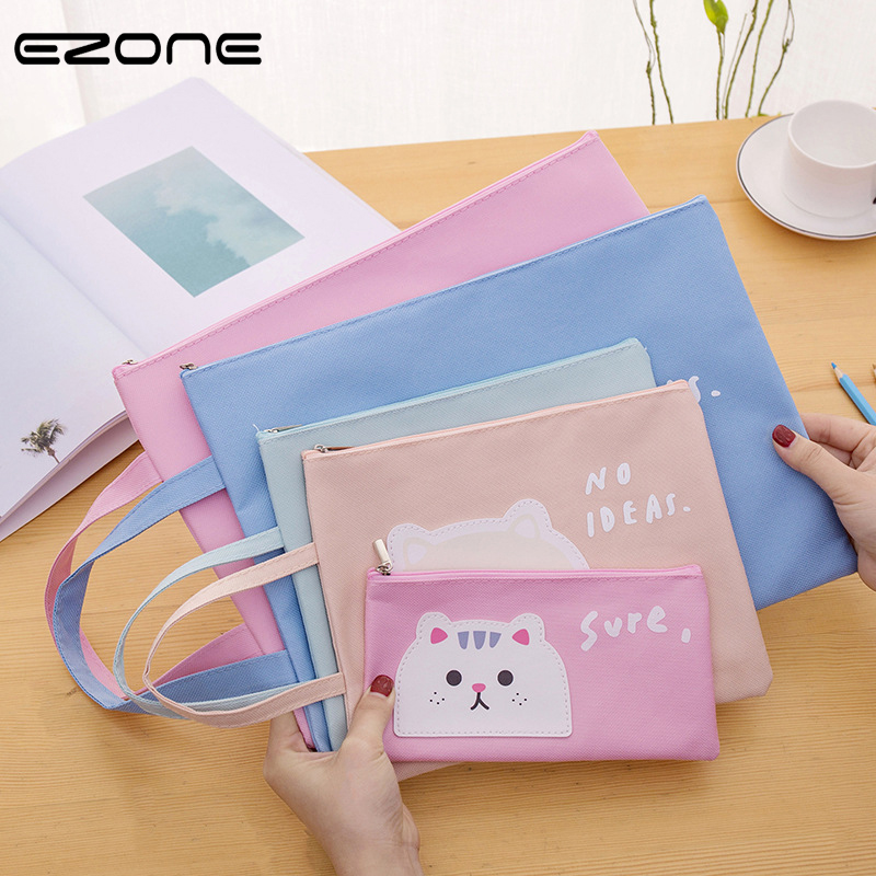 EZONE A4/A5/B6 File Bag Cartoon Cats Zipper Oxford Cloth Waterproof Material Paper Organizer File Bag Hand Bag Portable 2019 New