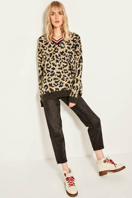 Trendyol רב צבע מתכתי Leopard מרקם סרוג סוודר צמר TCLAW19IS0027