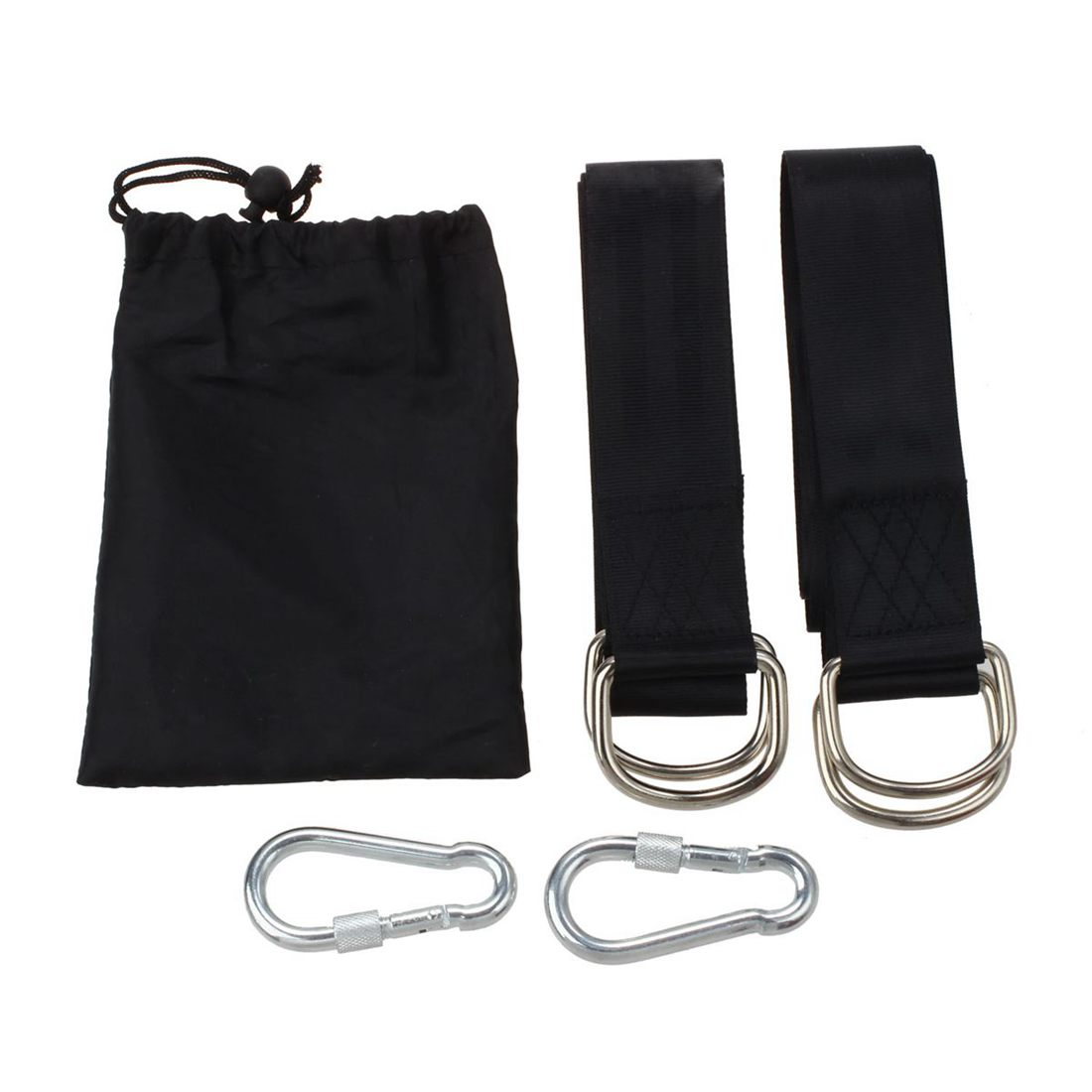 Promotion! Black Tree Swing Hanging Kit, Two 59 Inch Tree Straps With Safer Lock Snap Carabiner Hooks, Perfect For Tree Swing