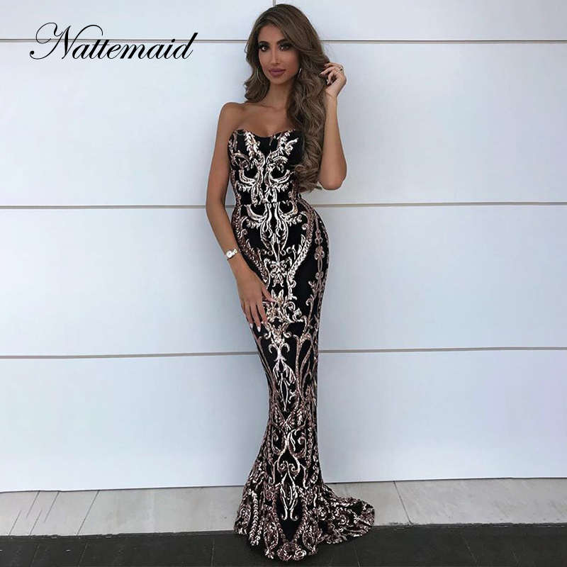 NATTEMAID 2019 Summer Backless Bodycon Dress Women Strapless Long Maxi Party Dresses Elegant Off Shoulder Sequin Dress Vestidos