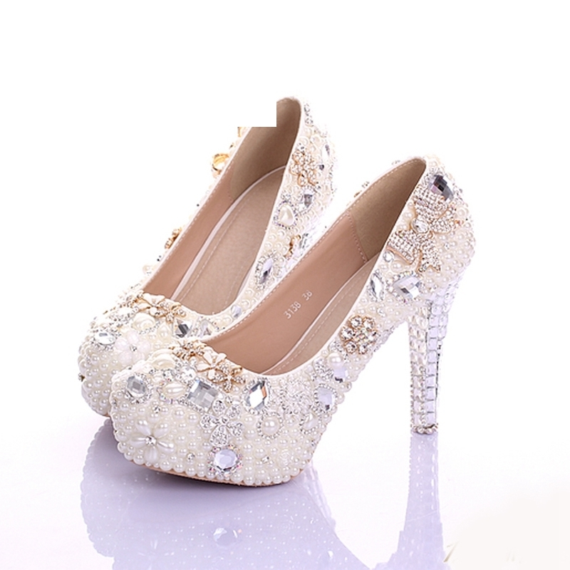 Luxury Handmade Pearls Prom Party Shoes Ivory Stiletto Heels Women Leather Platform Bridal Shoes Beautiful Crystal Dress ShoesLuxury Handmade Pearls Prom Party Shoes Ivory Stiletto Heels Women Leather Platform Bridal Shoes Beautiful Crystal Dress Shoes