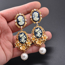 New Beauty Head Long Pearl Earrings Flowers Ladies Catwalk Fashion Style Jewelry 2019