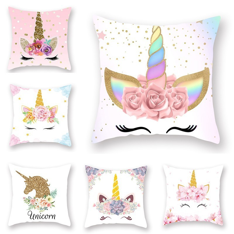 Cartoon <font><b>Unicorn</b></font> Throw Pillow Case 45x45cm Home Bedroom Soft Square Party <font><b>Cushion</b></font> <font><b>Cover</b></font> Office Car Sofa Decorative Pillowcase image