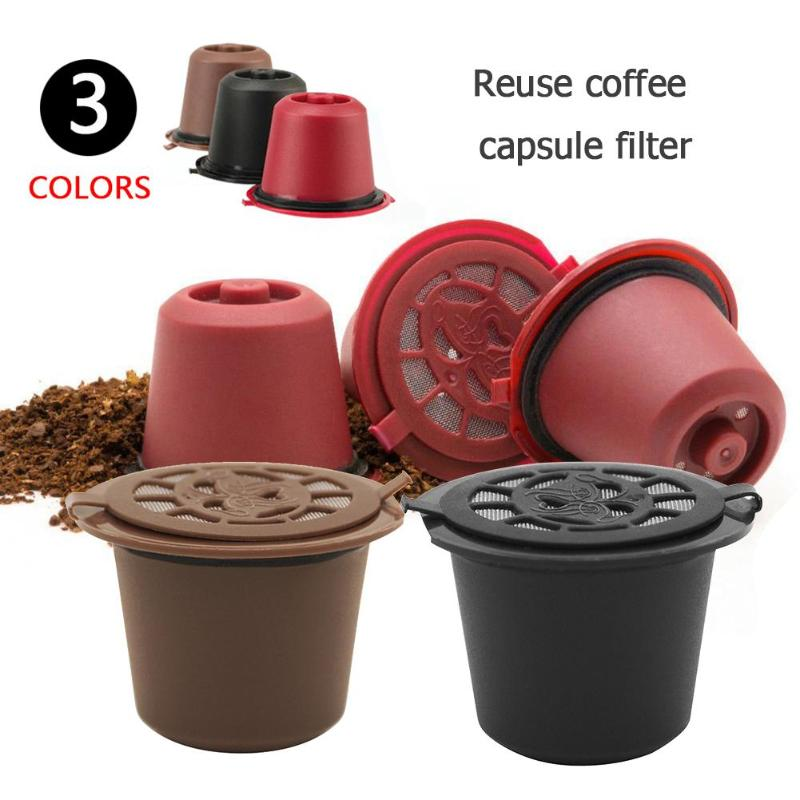 1pcs 4pcs Coffee Filter Reusable Refillable Coffee Capsule Filters For Nespresso With Spoon Brush Kitchen Accessories