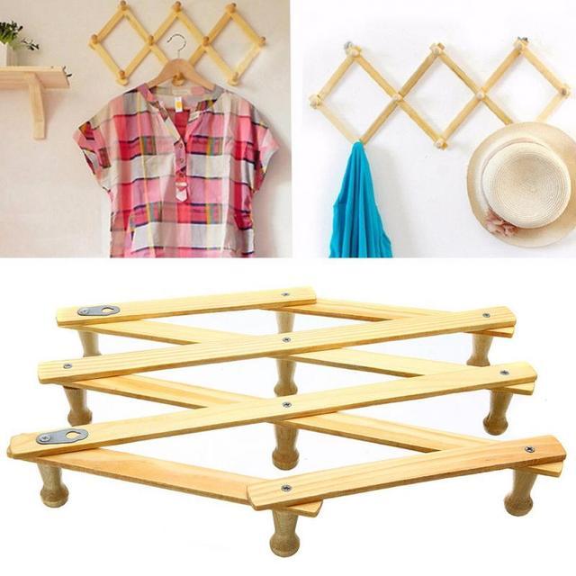 10 Head Wooden Expanding Clothes Hanger Expandable Coat Rack Holder Shelf Hat Closet Wall Hook Home