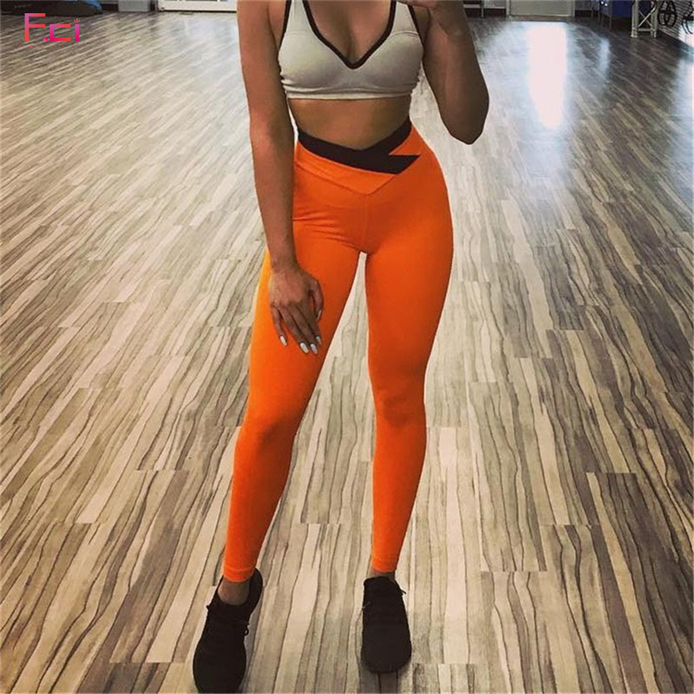 2019 Women Sexy Scrunch Butt Leggings Orange Casual Slim Pants  V Shape Waistband Female High Waist  Booty Skinny Pants