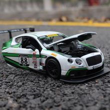 Scale 1:24 Bentley GT3 Car Model Toy For Kids Christmas Gift Drop Shipping Alloy Super Running Car Model Genuine Collection(China)