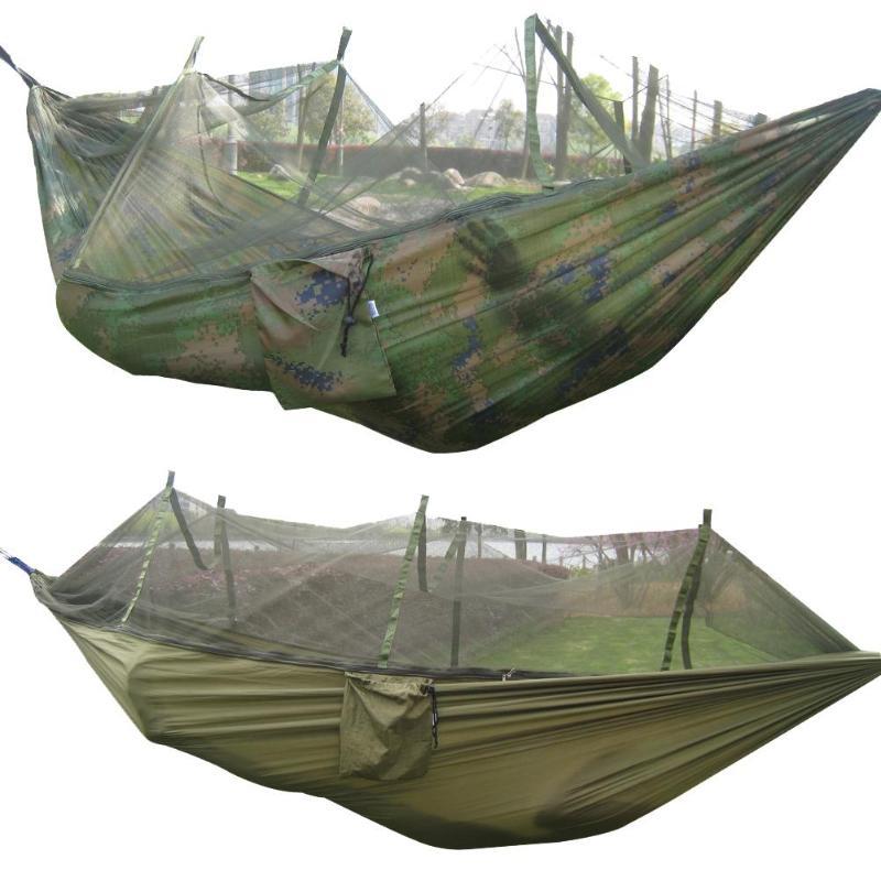 Portable Mosquito Net Camping Hammock Outdoor Garden Travel Swing Canvas Stripe Hang Bed Hammock Army Green 260*130cm