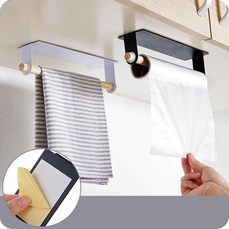 Muur Opknoping Ijzer Enkelpolige Handdoek Bar Stickers Lijm Opbergrek Voor Keuken Doekjes Handdoek Houder Bespaar Ruimte Doek Drogen Stand