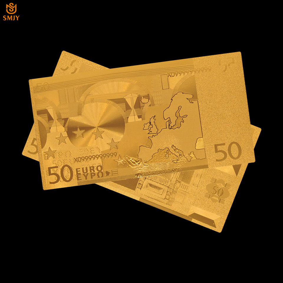 Euro Gold Banknote Colored 50 Plated Bills Paper Money 24k Value Collection In Banknotes From Home Garden On