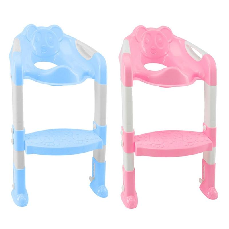 Folding Baby Toilet Training Potties Seats With Adjustable Ladder Infant Safety Handle Potty Urinal Children Plastic Toilet Seat