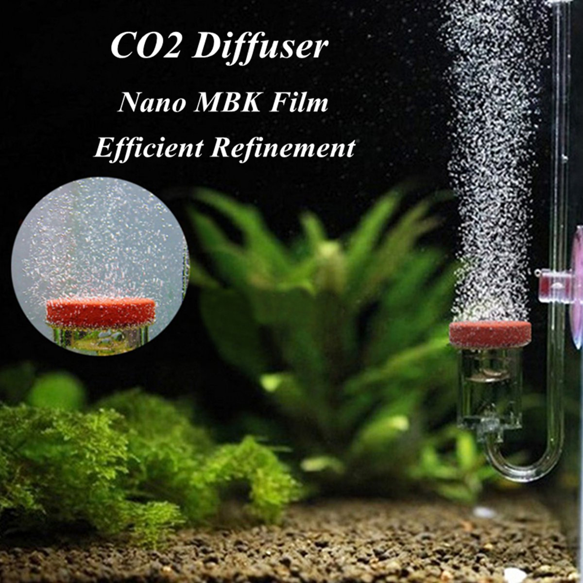 4In1 Acrylic Clear Aquarium CO2 Diffuser 5mm Thickness CO2 Dioxide Atomizer Check Valve Replacement Exchange Aquarium Plant Tank