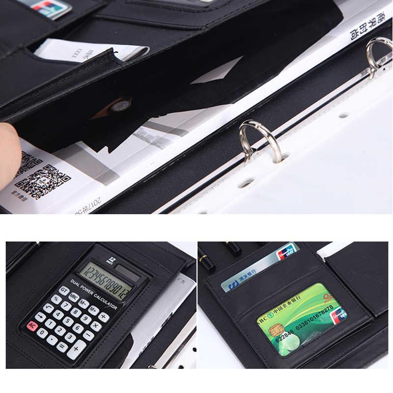 8 пакетов папка для документов A4 ПУ кольцо связующего Дисплей книга папки с калькулятором документ мешок органайзер канцелярские принадлежности