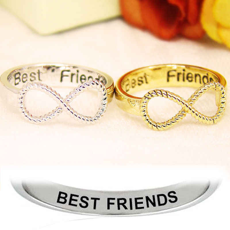 Fashion Woman Female Girl BFF Letter Best Friend Siver Gold Punk Infinity 8 Bow knot Friendship Rings
