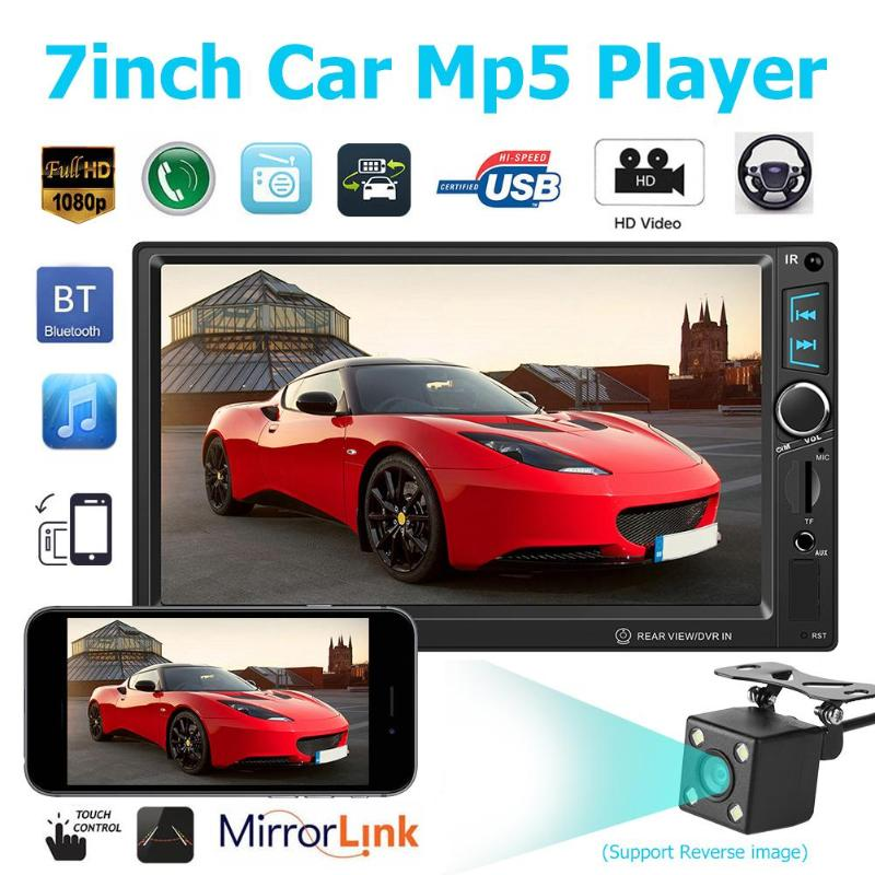 T8011 7 Car Stereo MP5 Player FM Radio Audio Bluetooth USB AUX Head Unit Android Support TF Card Auto Rear View No Camera New
