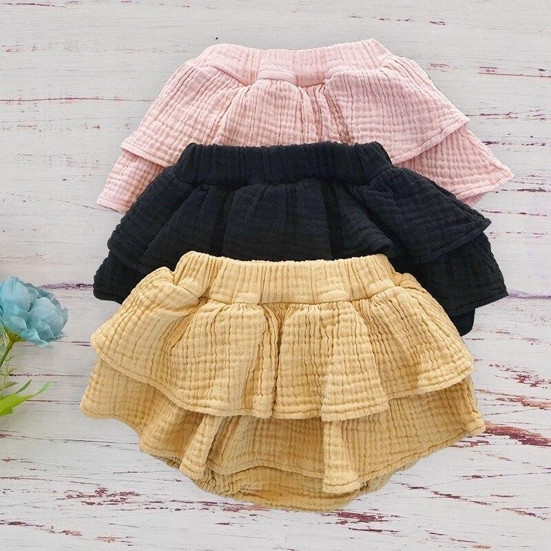 Coton bio bébé fille Shorts été à volants Bloomer Shorts pour filles enfant en bas âge Double gaze décontracté mode Petti pantalon court 12m