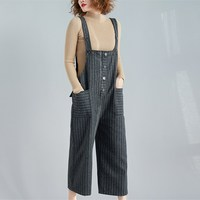 2019 New Arrival Women Gray/Khaki Striped Loose Jumpsuits Female Vintage Pockets Button Long Rompers