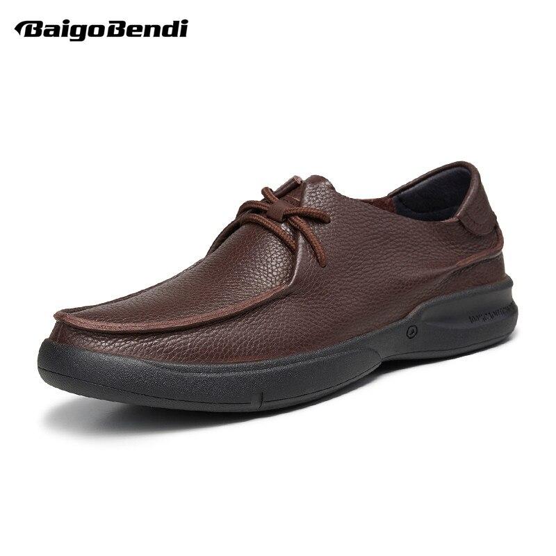 US 6 12 décontracté En Cuir Véritable Chaussures En Cuir Souple pour Hommes D'affaires Homme Respirant à lacets Évider D'âge Moyen Père Chaussures