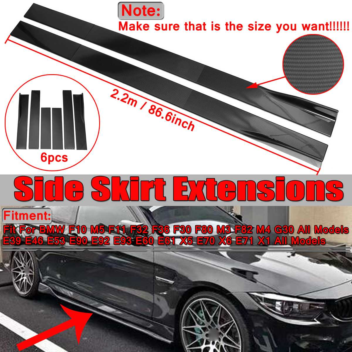2.2m Carbon Fiber Look Universal Car Side Skirt Winglet Extensions Rocker Splitters For <font><b>BMW</b></font> F30 F80 F82 M4 F32 F36 E90 E92 <font><b>F10</b></font> image