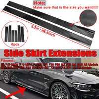 2.2m Carbon Fiber Look Universal Car Side Skirt Winglet Extensions Rocker Splitters For BMW F30 F80 F82 M4 F32 F36 E90 E92 F10