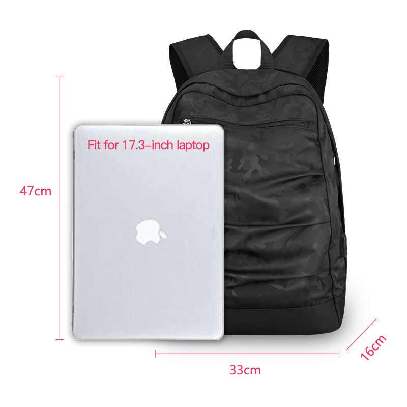 Kahraman şövalye USB şarj Laptop sırt çantası 17 inç erkekler Camo siyah moda Masccline çanta seyahat sırt çantaları büyük kapasiteli çanta