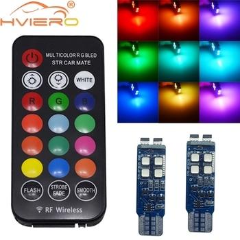 цена на T10 W5W RF Control RGB Led Reading Light RGB T10 LED 194 168 Car Clearance Light License Plate Light Position Dome Light DC 12V
