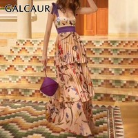 GALCAUR Vintage Sleeveless Print Women Dress Off Shoulder Bowknot High Waist Maxi Pleated Dresses Female Fashion 2019 Summer