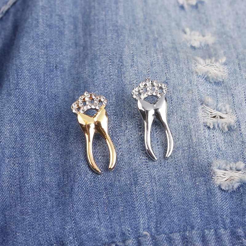 Dientes de plata Pin de hada broche dentista joyas insignias Me encanta mi diente broches dientes con corona de cristal Pin de solapa de regalo los niños