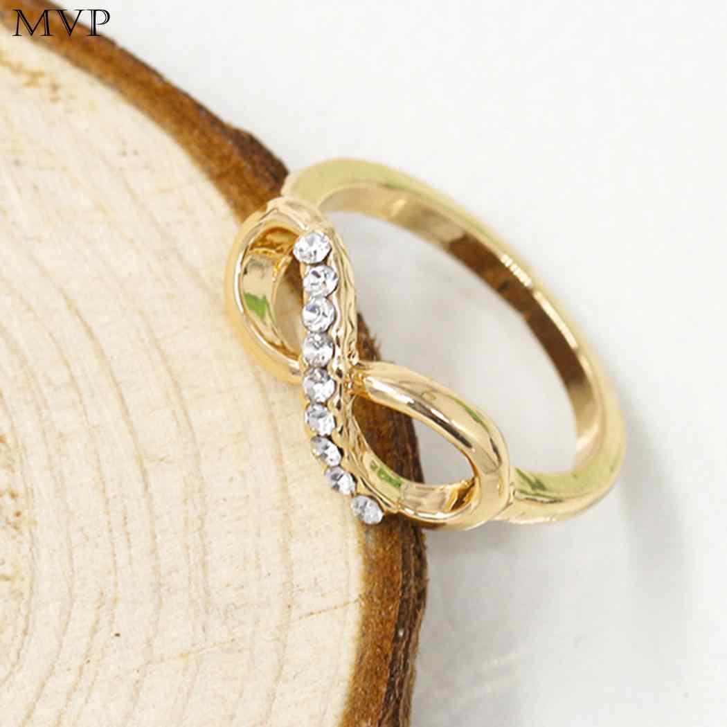 Moda 8-Em Forma de Anel de Ouro Rosa Jóias de Prata Anel de Casamento Jóias Anéis de Dedo Para As Mulheres Lady Anel Infinito