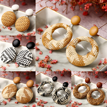 Fashion Statement Big Geometric Circle Wood Earrings For Women Hanging Dangle Earrings Drop Earing modern Jewelry geometric overstate big circle drop earrings