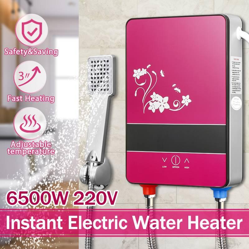 Chauffe-eau électrique sans réservoir chauffage instantané Set 220 V 6500 W Protection contre la surchauffe température constante avec buse de douche