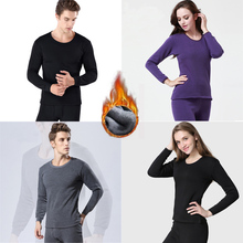 2Pcs thermal underwear vetement thermo male thick set men women velvet for warm johns long BBCAA