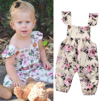 0-24M Newborn Toddler Baby Girls Floral Print Romper Overalls Summer Outfit Clothes